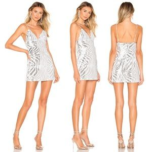 X by nbd Silvia Dress in Silver & White Sz small